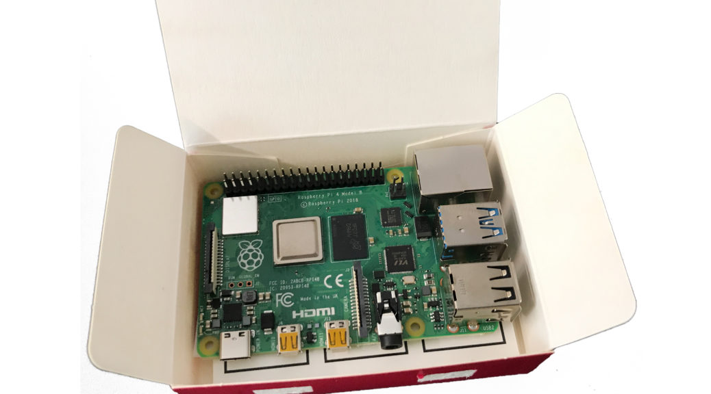 Raspberry Pi 4 verpackt im Karton